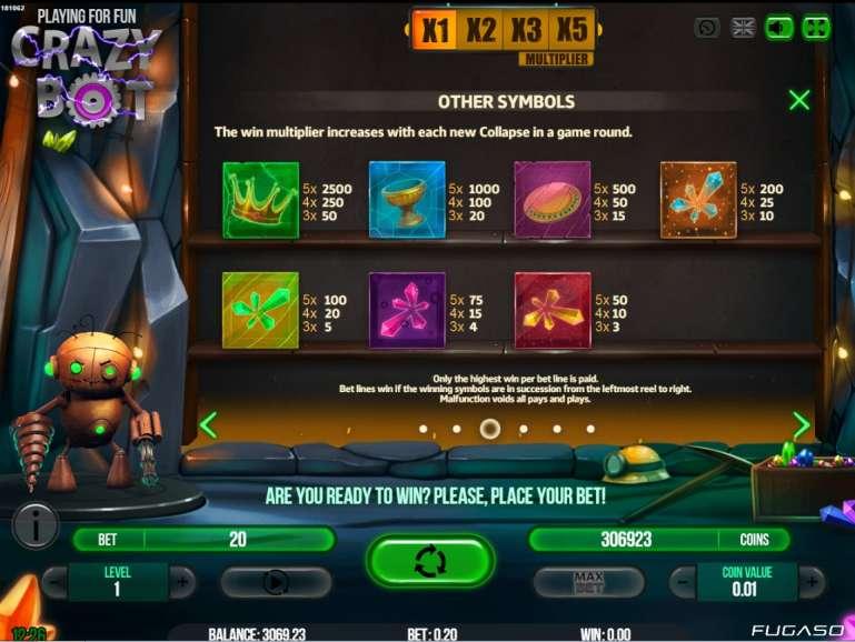 Crazy bot безумный робот игровой автомат ставок